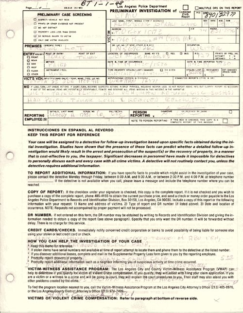 Gerry Armstrong Police Report ( Preliminary Theft Report)